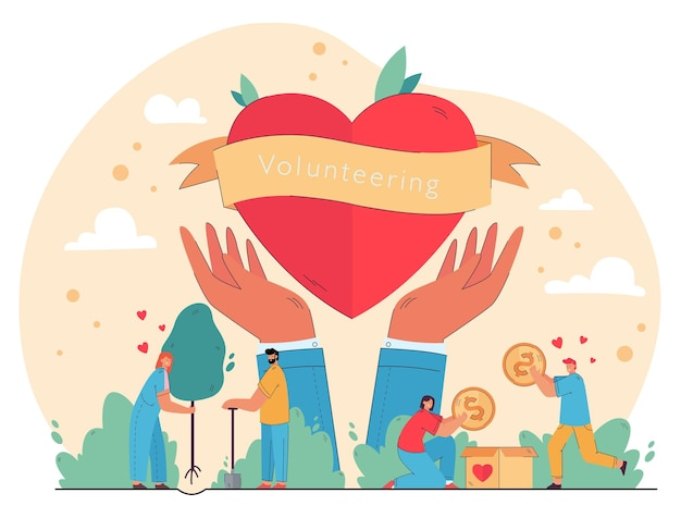 Happy people enjoying volunteering and giving help, packing cash into donation box, planting trees at heart in hands symbol.  illustration for charity, nature care, humanitarian aid concept Free Vector