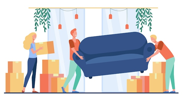 Happy people moving into new home. cartoon characters carrying carton boxes and sofa indoors Free Vector