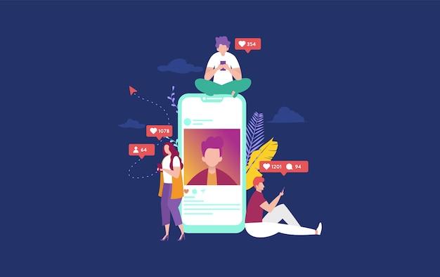 Счастливые люди на иллюстрации концепции социальных медиа Premium векторы
