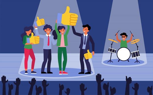 Счастливые люди на сцене, показывая лайки Бесплатные векторы