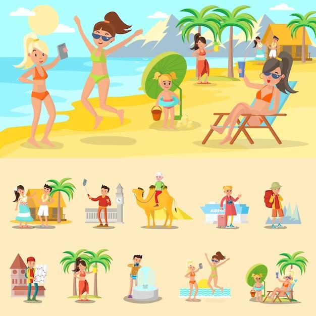 休暇の概念に幸せな人々 無料ベクター