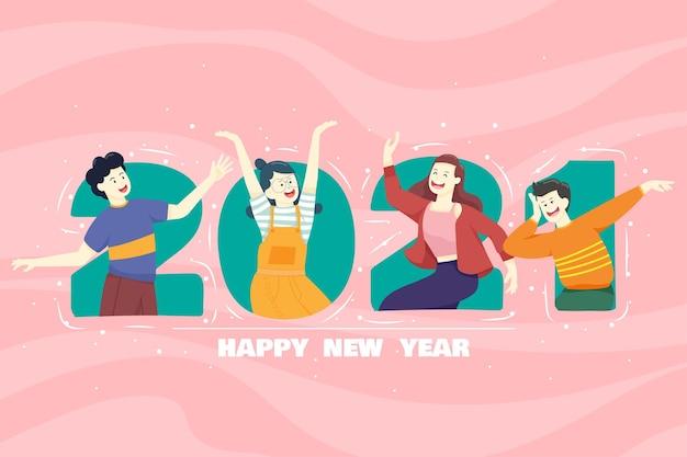 Счастливые люди или офисные работники, сотрудники держат большие цифры 2021 года. группа друзей или команда желают счастливого рождества и счастливого нового года. Бесплатные векторы