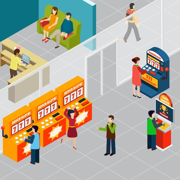Happy people playing game machines 3d isometric Free Vector