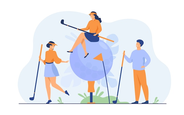 Happy people playing golf with brassies and ball on lawn, enjoying their hobby, having fun. Free Vector