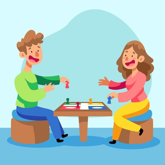 Persone felici che giocano a ludo Vettore gratuito