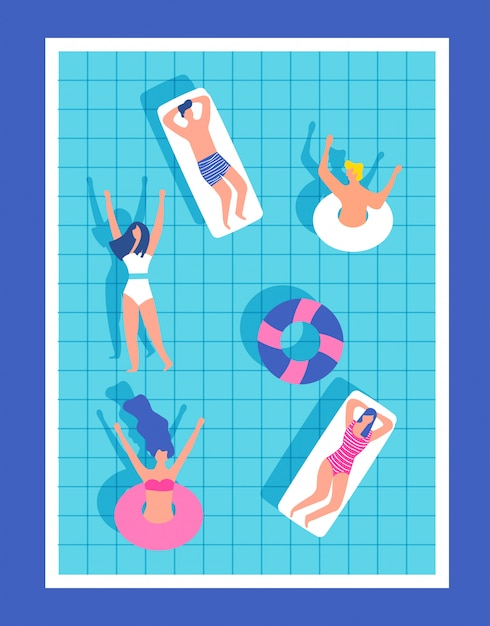 Happy people in the pool having fun Premium Vector