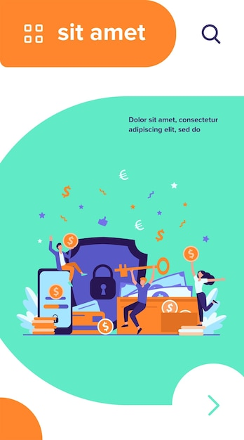 Persone felici che proteggono denaro isolato piatto illustrazione vettoriale Vettore gratuito