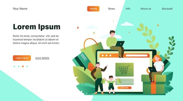 Счастливые люди, делающие покупки в интернете. корзина, таблетка, клиентская плоская векторная иллюстрация. концепция электронной коммерции и цифровых технологий, дизайн веб-сайта или целевая веб-страница Бесплатные векторы