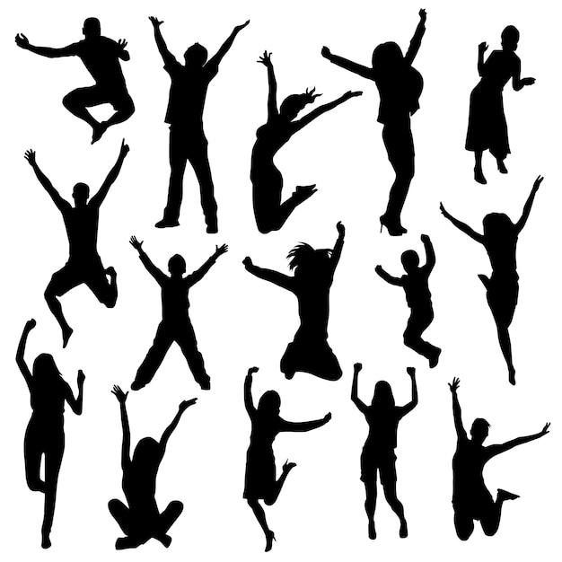 Happy people silhouette clip art Premium Vector