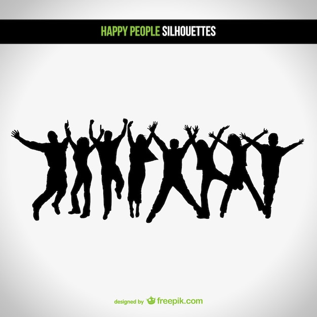 Happy people silhouettes Free Vector