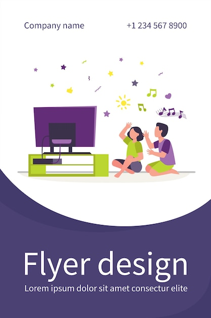 Happy people sitting on floor and listening music channel. tv, home, friend flat illustration. flyer template Free Vector