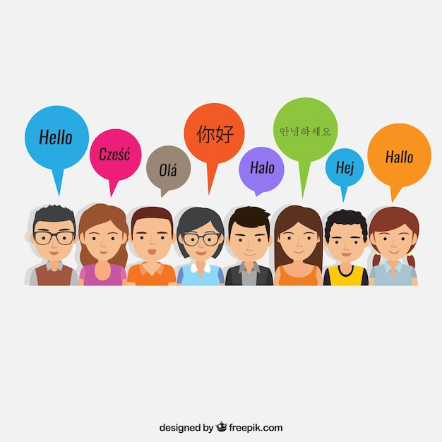 Happy people speaking different languages with flat design Free Vector