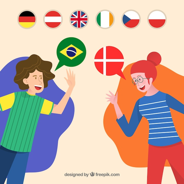 Happy people speaking different languages Free Vector
