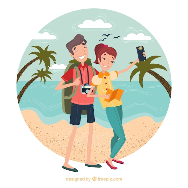 Happy people traveling around the world Free Vector