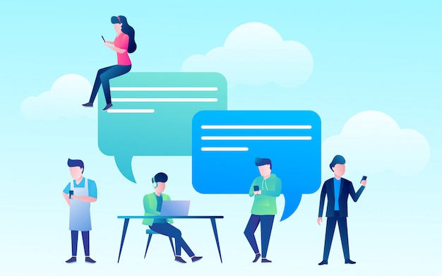 Happy people use mobile smartphone and laptop for chatting in social media Premium Vector