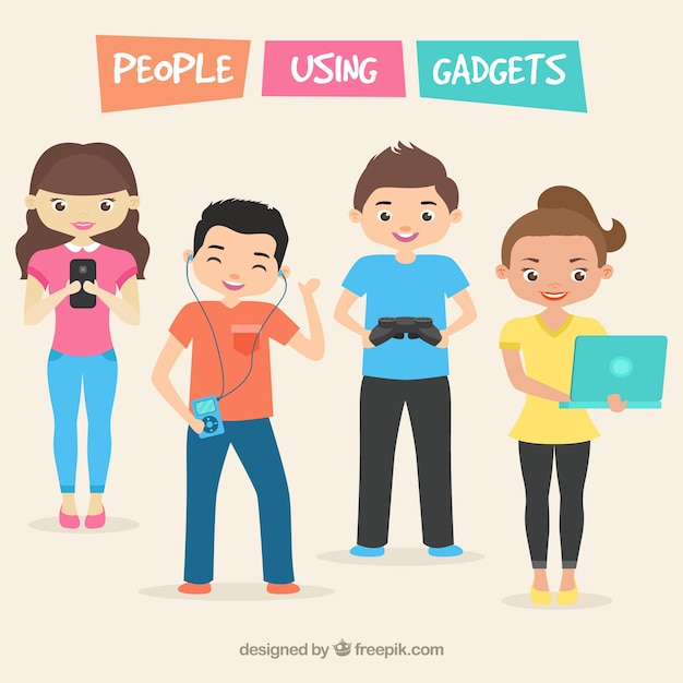 Happy people using gadgets Free Vector