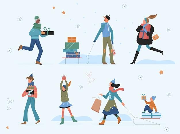 Счастливые люди с иллюстрацией рождественских подарков. Premium векторы