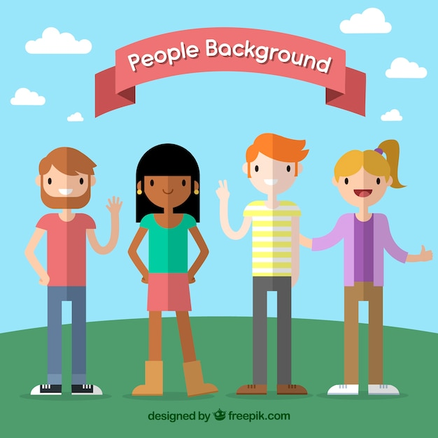 Happy people with flat design Free Vector