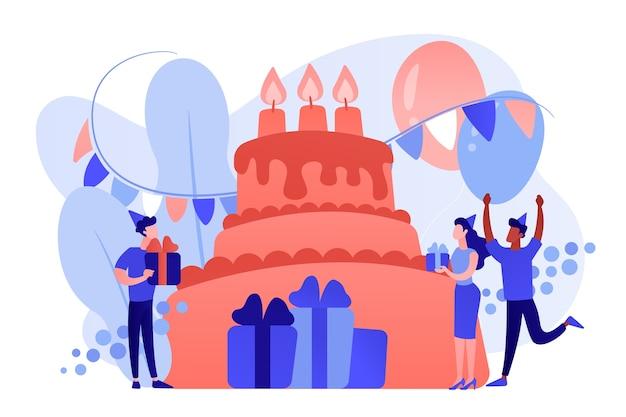 Счастливые люди с подарками празднуют день рождения на огромном торте. принадлежности для дня рождения, приглашения на день рождения, концепция планирования дня рождения. розовый коралловый синий вектор изолированных иллюстрация Бесплатные векторы