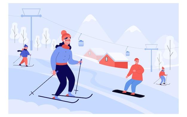 Счастливые люди с детьми на лыжах и сноуборде мимо лифта в горах. туристы наслаждаются отдыхом на горнолыжном курорте. иллюстрация для концепции деятельности зимних видов спорта Premium векторы