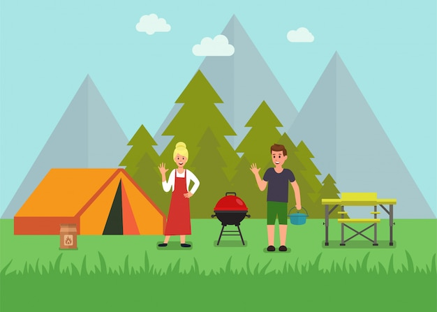 Happy picnic with tourist gear ad shop Premium Vector