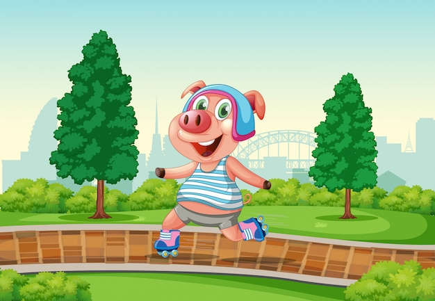 Happy pig playing roller skate at the park Free Vector