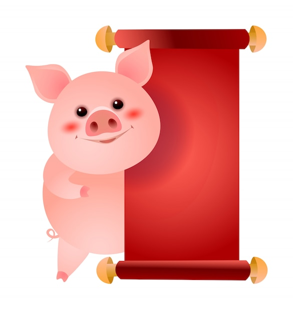 Happy pig standing at blank red paper illustration Free Vector