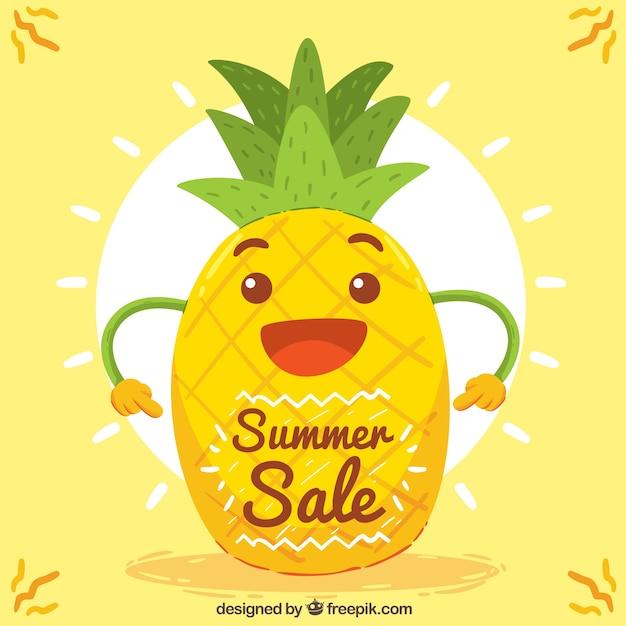 Счастливый ананас фон с солнцем Бесплатные векторы