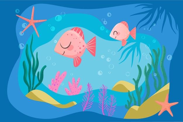 オンラインビデオ会議のための幸せなピンクの魚の背景 無料ベクター