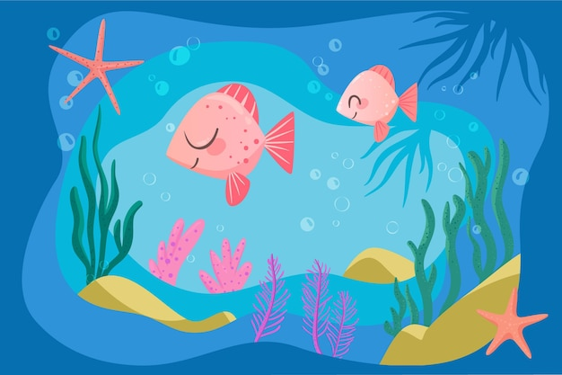 Happy pink fish background for online video conferencing Free Vector