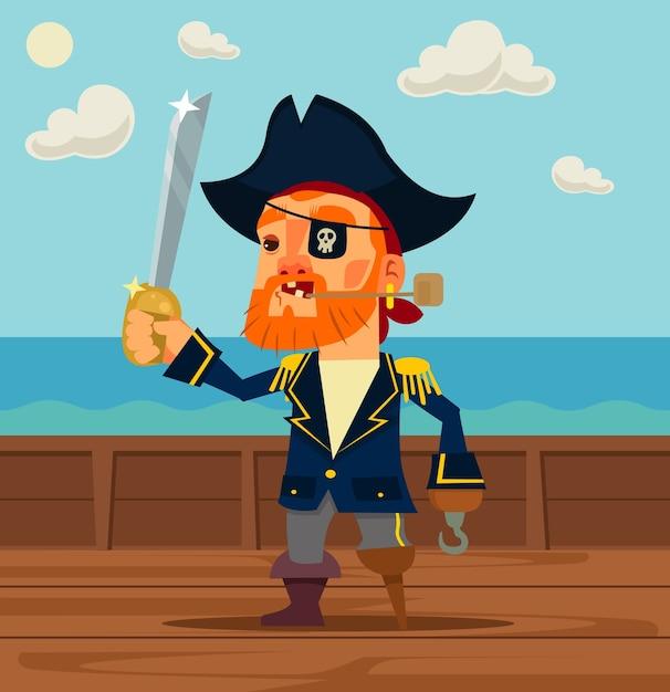 幸せな海賊キャプテンキャラクター。 Premiumベクター