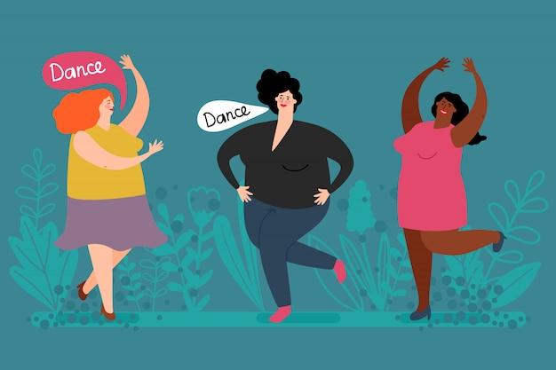 幸せな肉付きの良い女性ダンスベクトル。かわいい脂肪の女性と植物のイラスト Premiumベクター