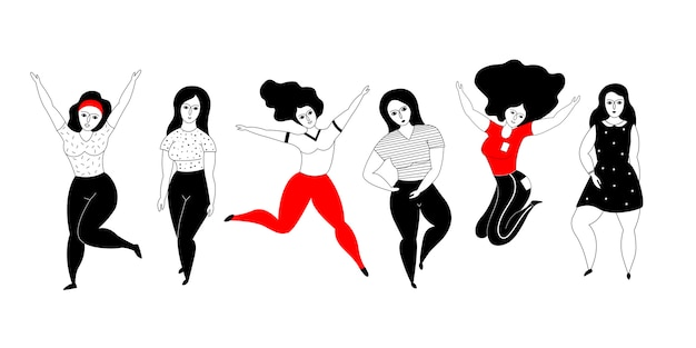 Happy plus size girls on a white background. Premium Vector