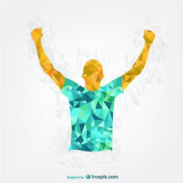 Happy polygonal man raising hands Free Vector