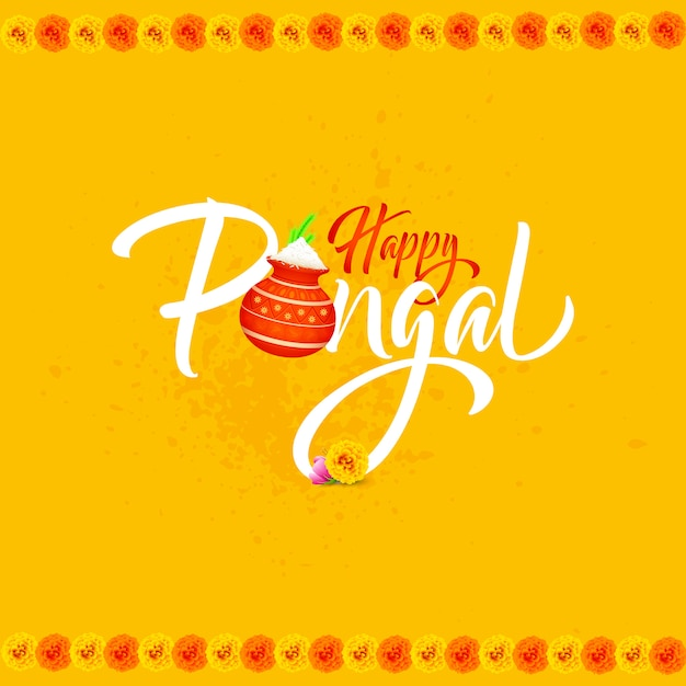 Happy pongal background card. Premium Vector
