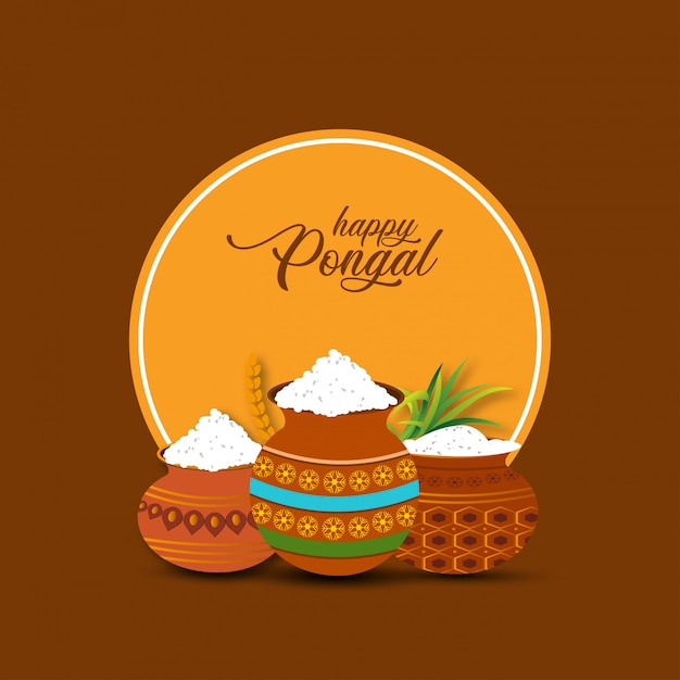 Happy pongal background. vector illustration Premium Vector