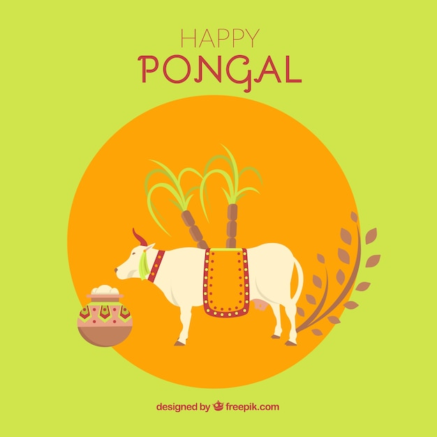 Happy pongal background with a cow Free Vector
