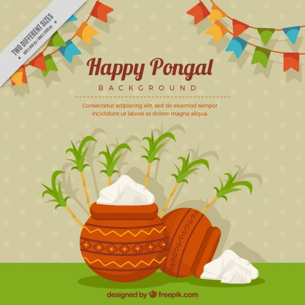 Happy pongal background with garlands and sugarcane Free Vector