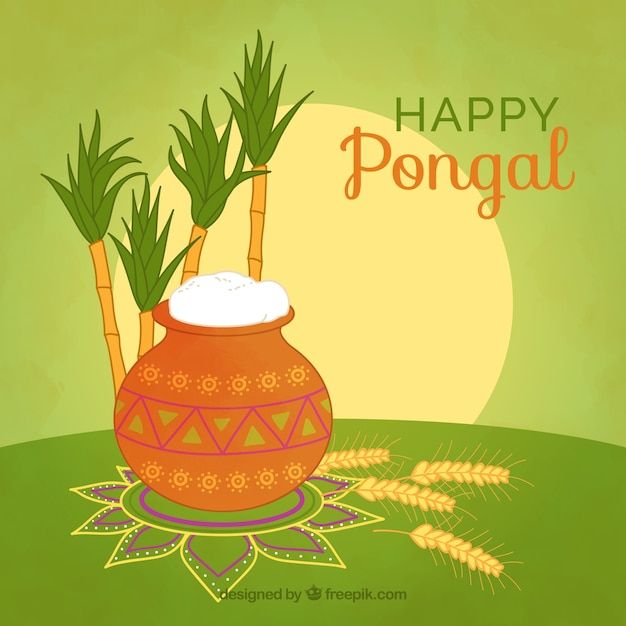 Happy pongal background with rice and sugarcane Free Vector