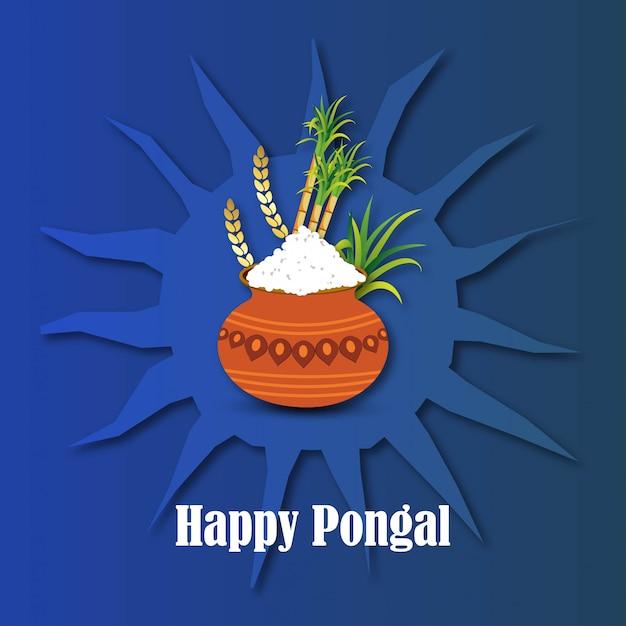 Happy pongal background Premium Vector