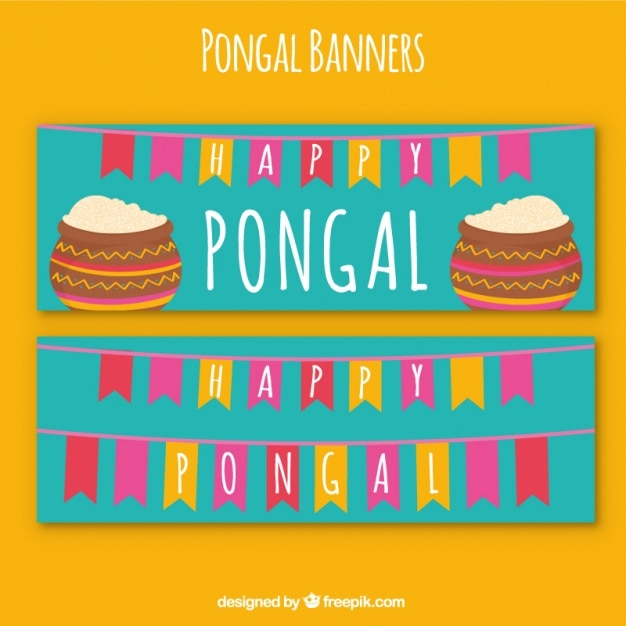 Happy pongal banners with colorful garlands Free Vector