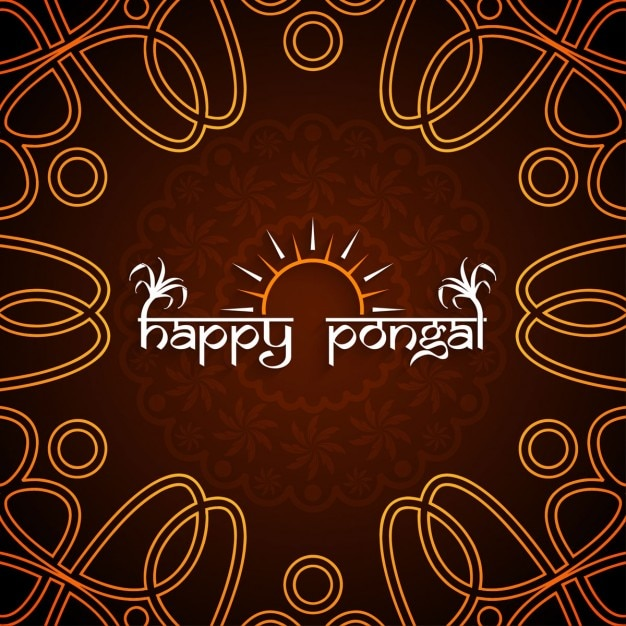 Happy pongal, brown background Free Vector
