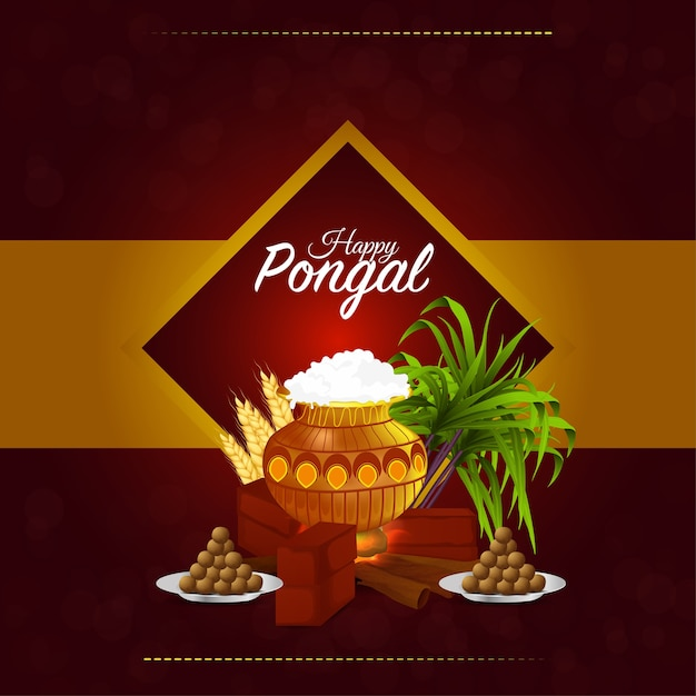 Happy pongal card with mud pot and sweet Premium Vector