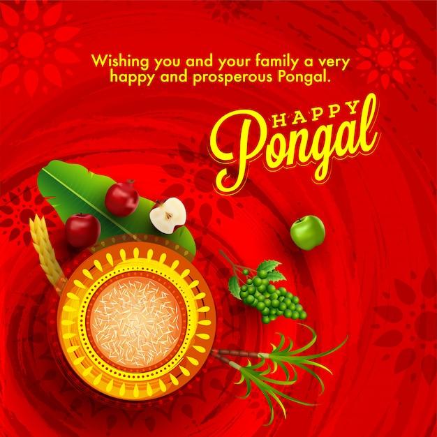 Happy pongal card Premium Vector