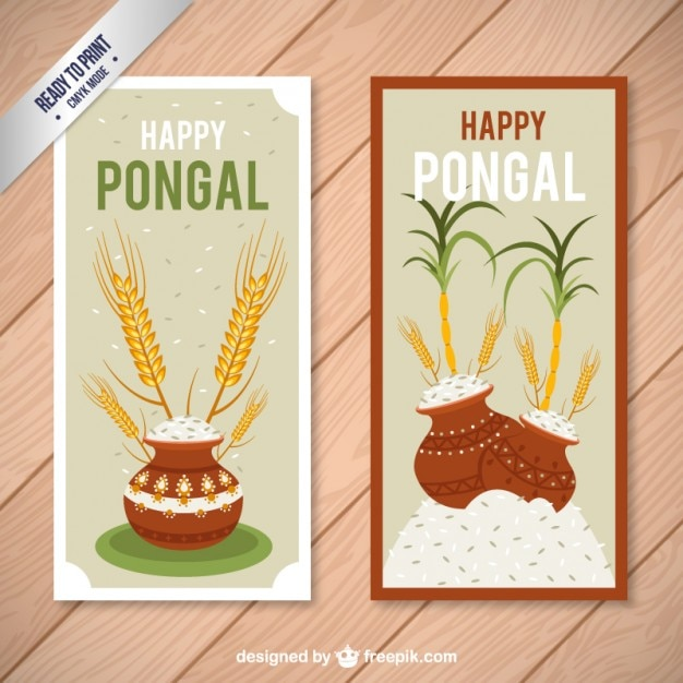 Happy pongal cards Free Vector