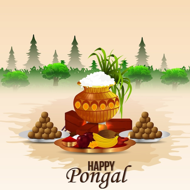 Happy pongal celebration background Premium Vector