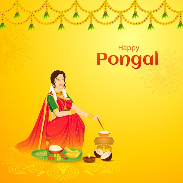 Happy pongal celebration greeting card design, beautiful woman stirring rice in mud pot with fruit Premium Vector