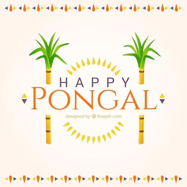 Happy pongal cute background Premium Vector