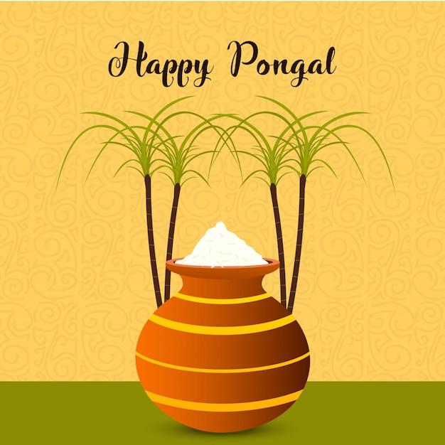 Happy pongal festival background - vector Premium Vector