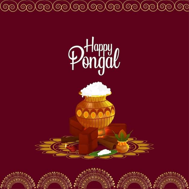 Happy pongal greeting card background Premium Vector